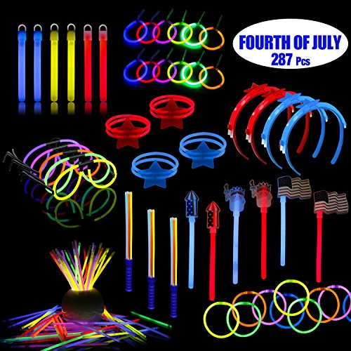 LaRibbons 4th of July Patriotic Party Supplies, 278 Pack Glow Sticks in Bulk for Memorial Day, Veteran's Day, Assortment Include American Flag, Bracelets, Necklace, Glasses, Magic Wands and More -