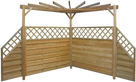 WT Trade Pérgola de jardín, 256 x 256 x 225 cm, con 4 Paneles Laterales de Valla de Madera de Pino, impermeabilizada, para jardín: Amazon.es: Hogar