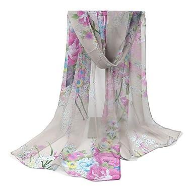 5411cd1f3a73 Westeng Echarpe Femme Foulard en Mousseline de Soie Foulard Coloré Douce  Imprimé Fleur Gris