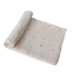 mushie Muslin Baby Swaddle Blanket | 100% Organic Cotton (Retro Cars)