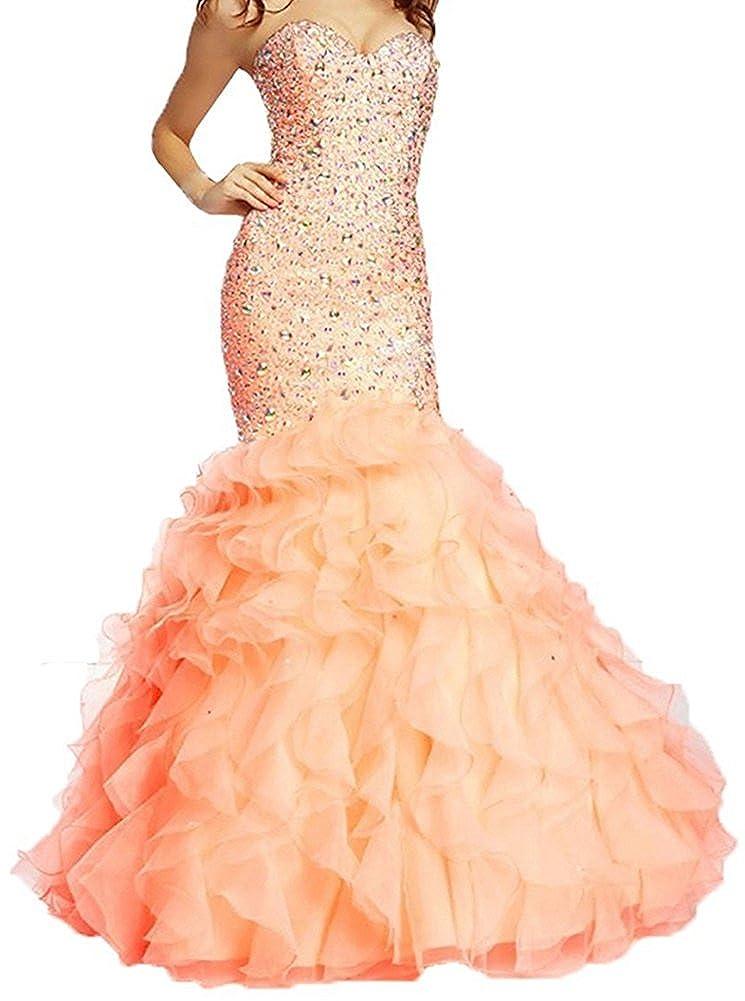 Light Pink Honeydress Women's Mermaid Rhinestones Sweetheart Sleeveless Ruffles Prom Dress