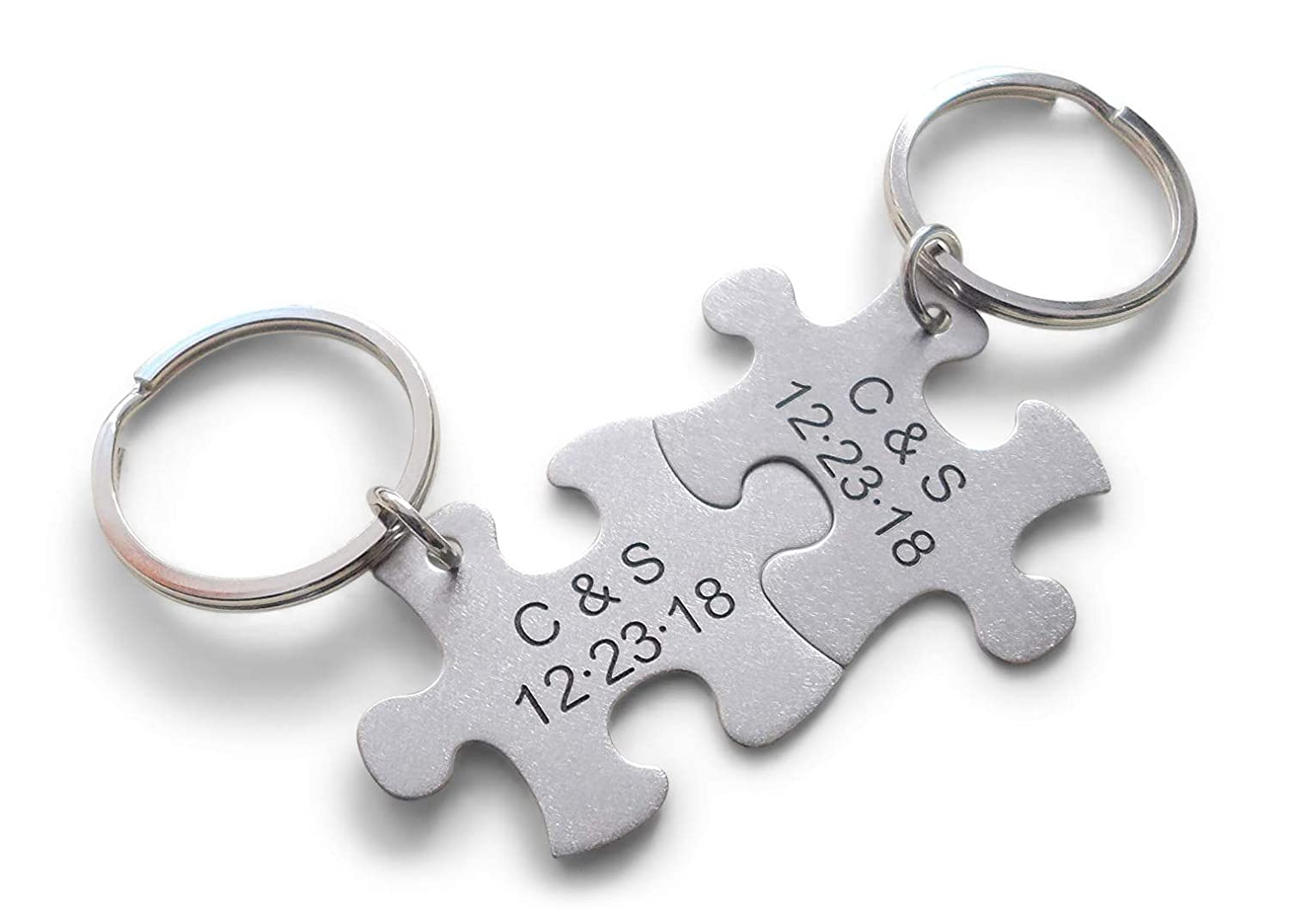 Boyfriend Girlfriend Gift Stainless Steel Couples Keychains Husband Wife Key Chains Custom Personalized Puzzle Keychains Anniversary Gift Engraved Keychains