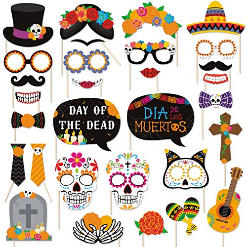 Day Of The Dead Birthday (30 PCS Day of the Dead Photo Booth Props Día de los Muertos Centerpiece Sugar Skull Masks Marigold Flowers Decorations for Mexican Birthday Party Wedding Bachelorette Fiesta Party)
