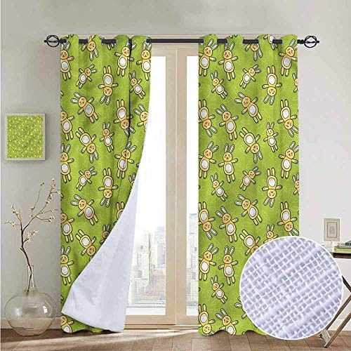 NUOMANAN Room Darkening Wide Curtains Anime,Rabbits Carrots on Green,Light Blocking Drapes with Liner 52