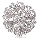 EVER FAITH® Vintage Inspired Bridal Silver-Tone Flower Brooch Corsage Austrian Crystal
