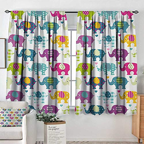 Blackout Curtains Elephant Nursery,Vivid Colorful Pattern Retro Plaid Tartan Polka Dots Hearts and Stripes,Multicolor,Rod Pocket Drapes Thermal Insulated Panels Home décor 42