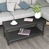 DlandHome Coffee Table TV Stand 39, Rectangular Composite Wood Board, Cocktail Table/Side Table/End Table/Sofa Table/Dining Table for Living Room, TVST4-BB Black, 1 Pack