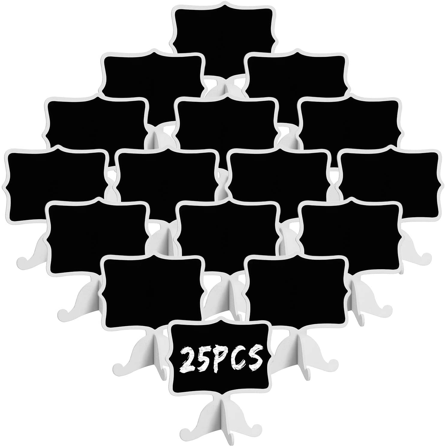 25 Pack Mini Chalkboard Signs with Easel Stand, Wood Rectangle Small Chalkboards for Food Labels, Table Numbers, Weddings, Parties and Event Decorations