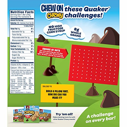 Quaker Chewy Granola Bars, 25% Less Sugar, Chocolate Chip, ( 8 bars/pack - 6 Pack )