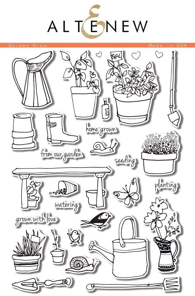 Altenew Garden Grow - 6''x 8'' Clear Sketch Stamp Set, Photopolymer Made in The USA, for Scrapbooking and Card Making