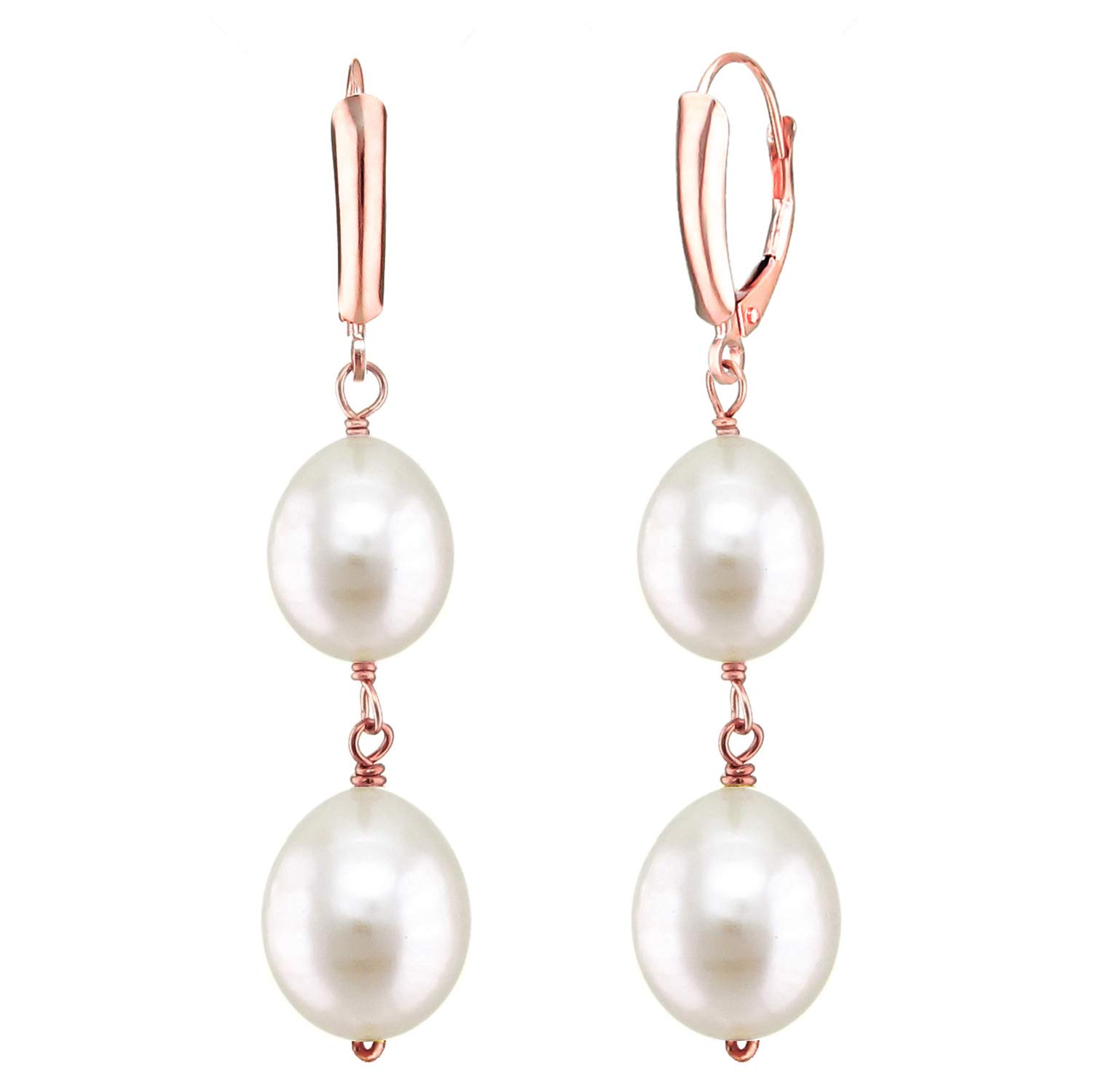Long-shape Freshwater Cultured White Pearl 8.5-9mm and 10-10.5mm Leverback Dangle Earrings in 14k Rose Gold