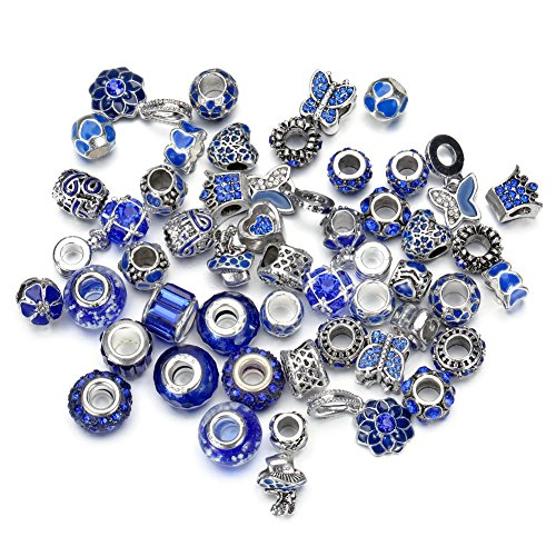 (Pansona 10 Colors Assorted Silver Tone Charms Rhinestones Bead Charms Murano Glass Beads and Spacers Pack of 50 (Dark Blue))