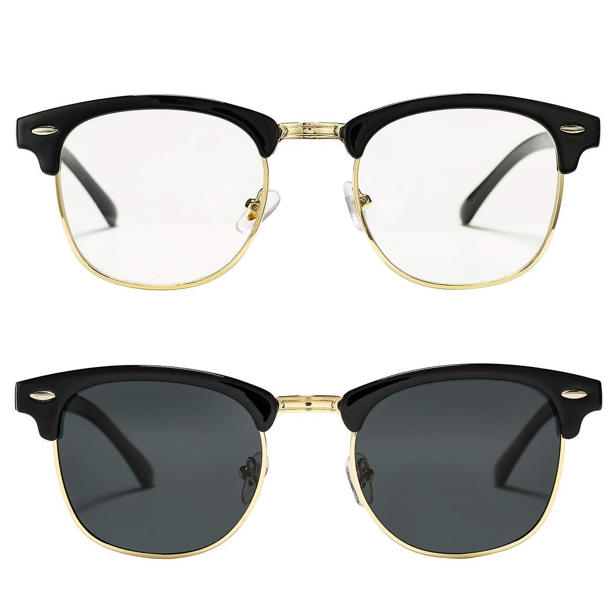Pro Acme Semi Rimless Polarized Sunglasses for Men Women Classic Brand Designer (Black + Clear) by Pro Acme