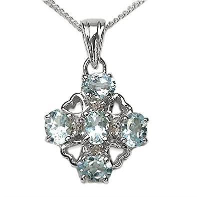 Schmuck-Schmidt-Collier Kette Herzen-Diamant Blautopas-Anhänger-1,29 Karat   Amazon.de  Schmuck 2318bb67b4