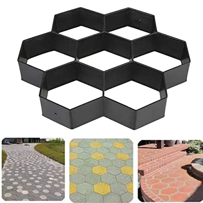 Gierzijia DIY Paving Mould, Driveway Patio Stepping Stone Pavement Paver Path Maker, Plastic Floor Mould Garden Design Paving Mould, Perfect Craft Can Be Finished by Your Clever Design Means (A) : Garden & Outdoor