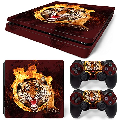 ZoomHit Ps4 Slim Playstation 4 Slim Console Skin Decal Sticker Tiger Animal + 2 Controller Skins Set (Slim ()