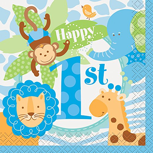 (Blue Safari First Birthday Beverage Napkins, 24ct)