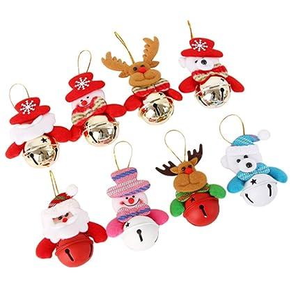 toyfun christmas bells decorations 8pcs christmas tree bell ornaments reindeer snowman bear santa ornaments