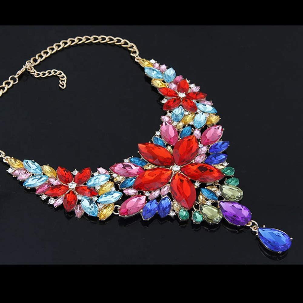 WAN Collar de Piedras Preciosas para Mujeres, Collar Babero, Collar de Temperamento metálico, Esmalte, Lujo, Brillo, Moda, Collar de Personalidad,Natural