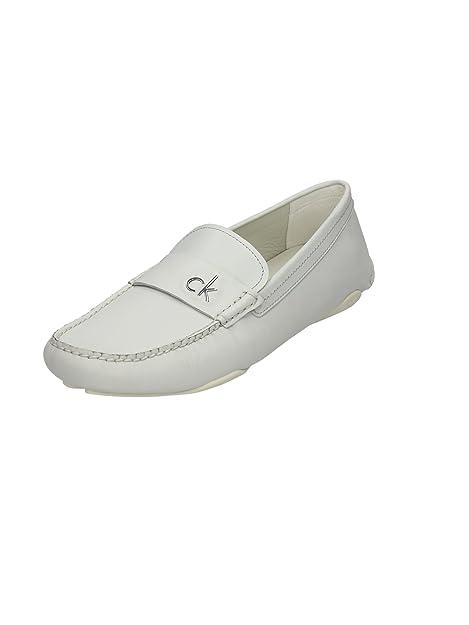Calvin Klein Zapatos Mocasines Hombre Mod. Abe Vacchetta 010584 Col. Blanco Blanco Size: