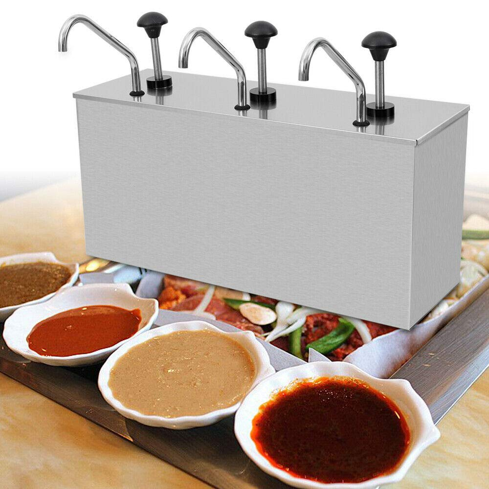 Food Grade 3 Buckets Commercial Stainless Steel Sauce Dispenser Pump for Cafes/Restaurant by WINUS