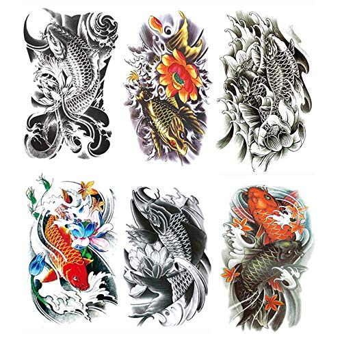 Yesallwas Temporary Tattoo for women for Men, 6 Sheets koi Fish Tattoos, Lotus, Gold carp,black fashion tattoo Body Stickers Arm Shoulder Chest & Back Make Up -