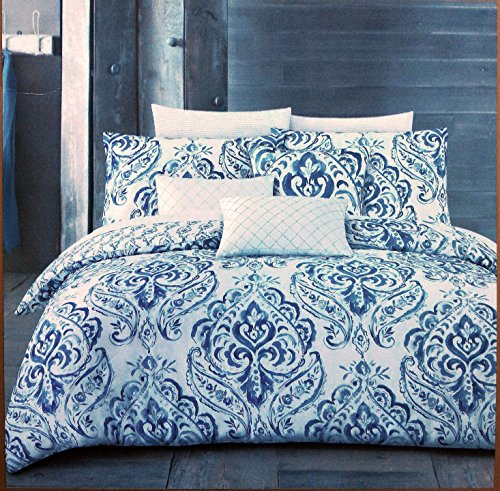 Nicole Miller Bedding 3 Piece Full / Queen Duvet Cover Set Blue Gray Watercolor Paisley on White