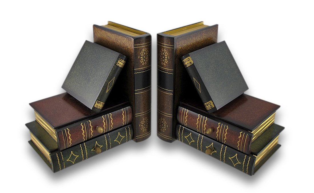 Classic Wooden Book Bookends Library W/ Hidden Drawers Zeckos 70184