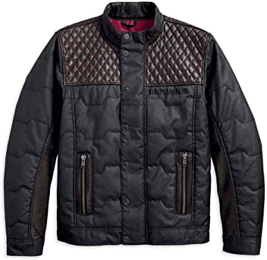 Harley-Davidson Mens Quilted Red Leather Accent Jacket 97441-18VM