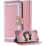 Aearl Samsung Galaxy A6 2018 Diamond Wallet Case for Women,Samsung Galaxy A6 2018 Shiny Rose Gold Leather,Luxury Glitter Sparkle Bling Rhinestone Flower Magnetic Buckle Closure Card Holder Case