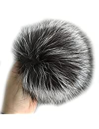 "15cm 6"" Real Silver Fox Fur Pompom Ball w Snap Button f Knitted Cap Beanie Hat"
