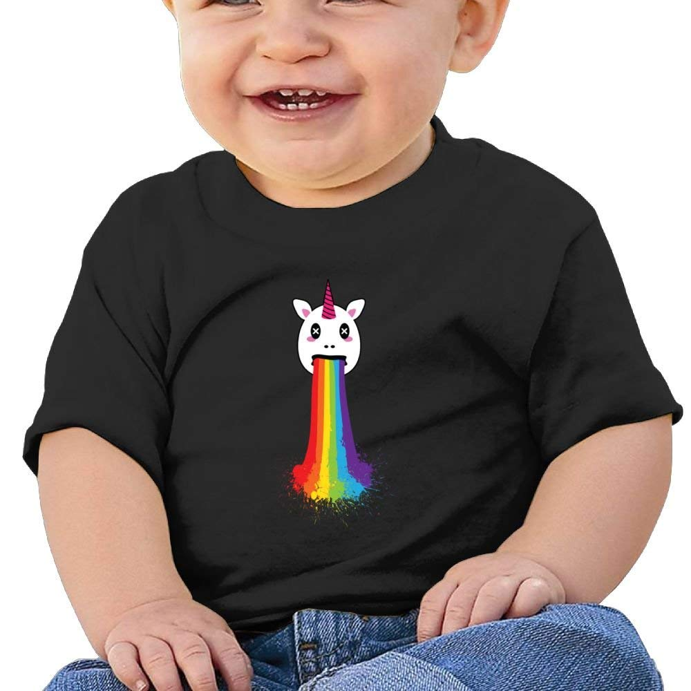 Cute Short Sleeves T-Shirt Vomit Unicorn 6-24 Months Baby Boys Toddler