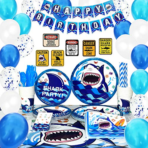 WERNNSAI Shark Party Supplies Set - Blue Ocean Pool Party Decorations for Boys Kids Birthday Banner Signs Balloons Cutlery Bag Tablecloth Plates Cups Napkins Straws Utensils Serves 16 Guests 175 PCS -