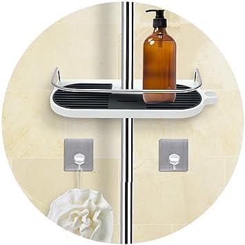 Lianqi bandeja de ducha multifuncional y bandeja de gancho, no es necesario taladrar la pared para colgar ...