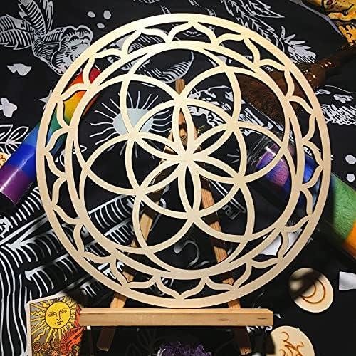 Albero della Vita Piccolo Fiore da appendere alla parete 29CM Simurg Griglia di cristallo in legno a forma di geometria sacra per meditazione decorazione da altare tagliata al laser 11.5 Inch
