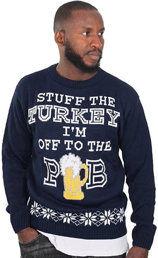Stuff The Turkey I/'m Off To The Pub Christmas Jumper Sweater Top Slogan Gift