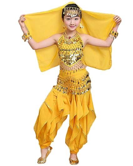 LaoZanA Vestidos para Niñas/Mujer Disfraces De Danza del Vientre Trajes De Danza India