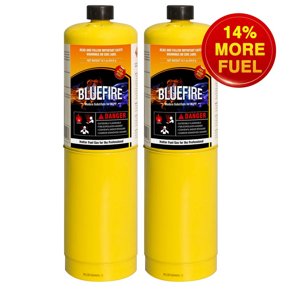 Pack of 2, BLUEFIRE Modern MAPP Gas Cylinder, 16.1 oz, 14% More Bonus Fuel than MAP/PRO, Hotter than Propane! Variation of Quantity Bundles Available (2) by MR. TORCH (Image #1)