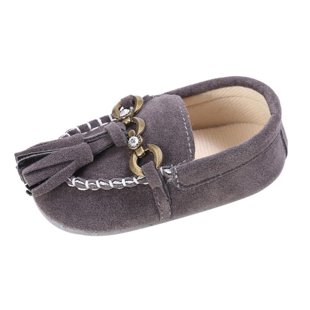 CSSD Little Girls Princess Shoes Baby Toddler Cute Crib Shoes Slip On Comfort Loafers Soft Prewalker (Age:0~6 Month, Gray)