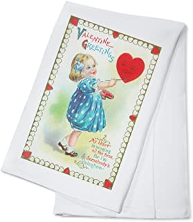 product image for St. Valentines Day Greetings Scene of Girl Painting a Heart (100% Cotton Kitchen Towel)