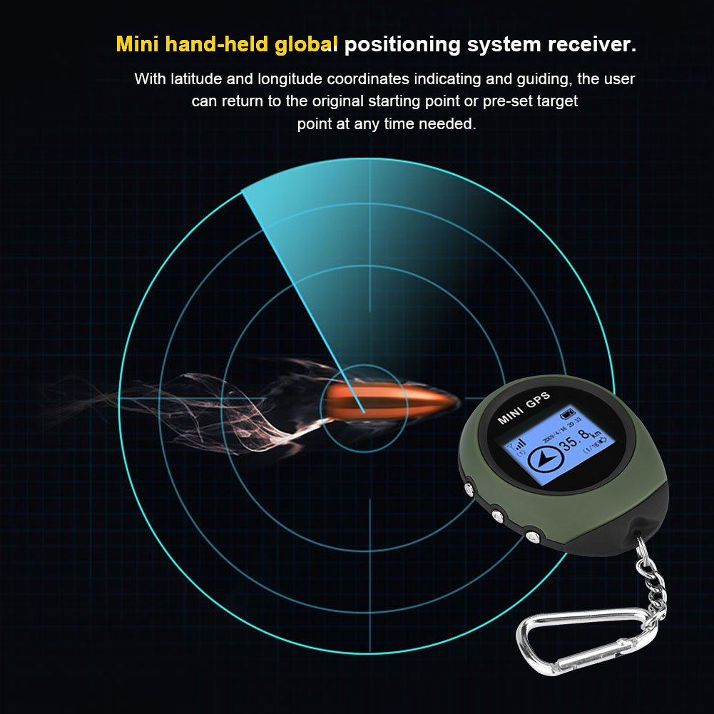 GPS Tracker Mini Tracking System with Real Time Outdoor Locator Personal Guide Tracker with LCD Direction Walking Speed Digital Display