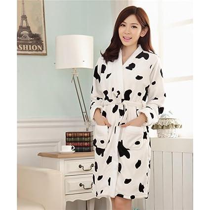 JIADONG Otoño/invierno franela de manga larga pijama mujer vaca gruesa camisones, código dos