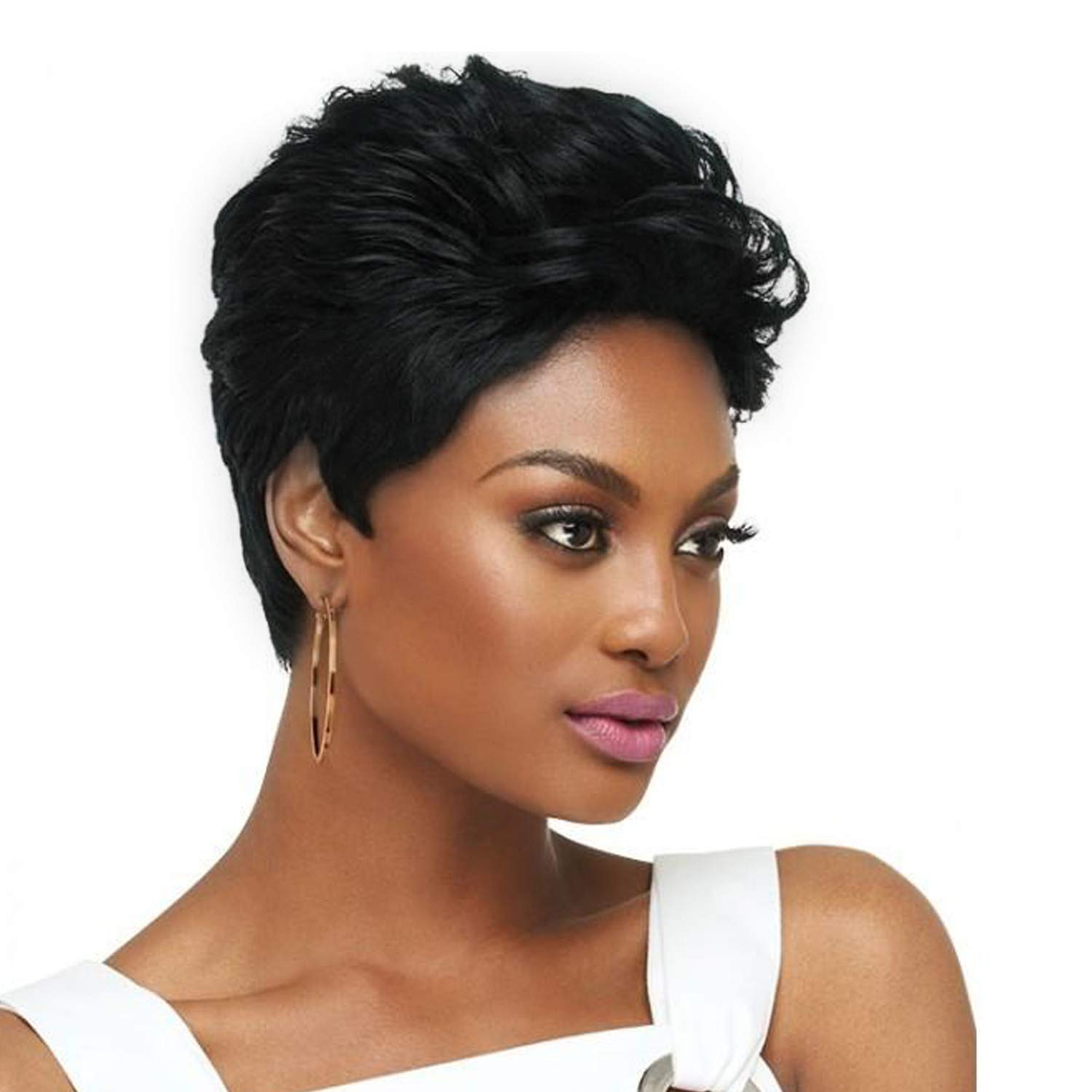 Wig,SUPPION High Quality Black Short Curly Wigs Real Human Hair Fashion Black Women Wigs - 8 inch - Cosplay/Party/Costume/Carnival/Masquerade (Black)