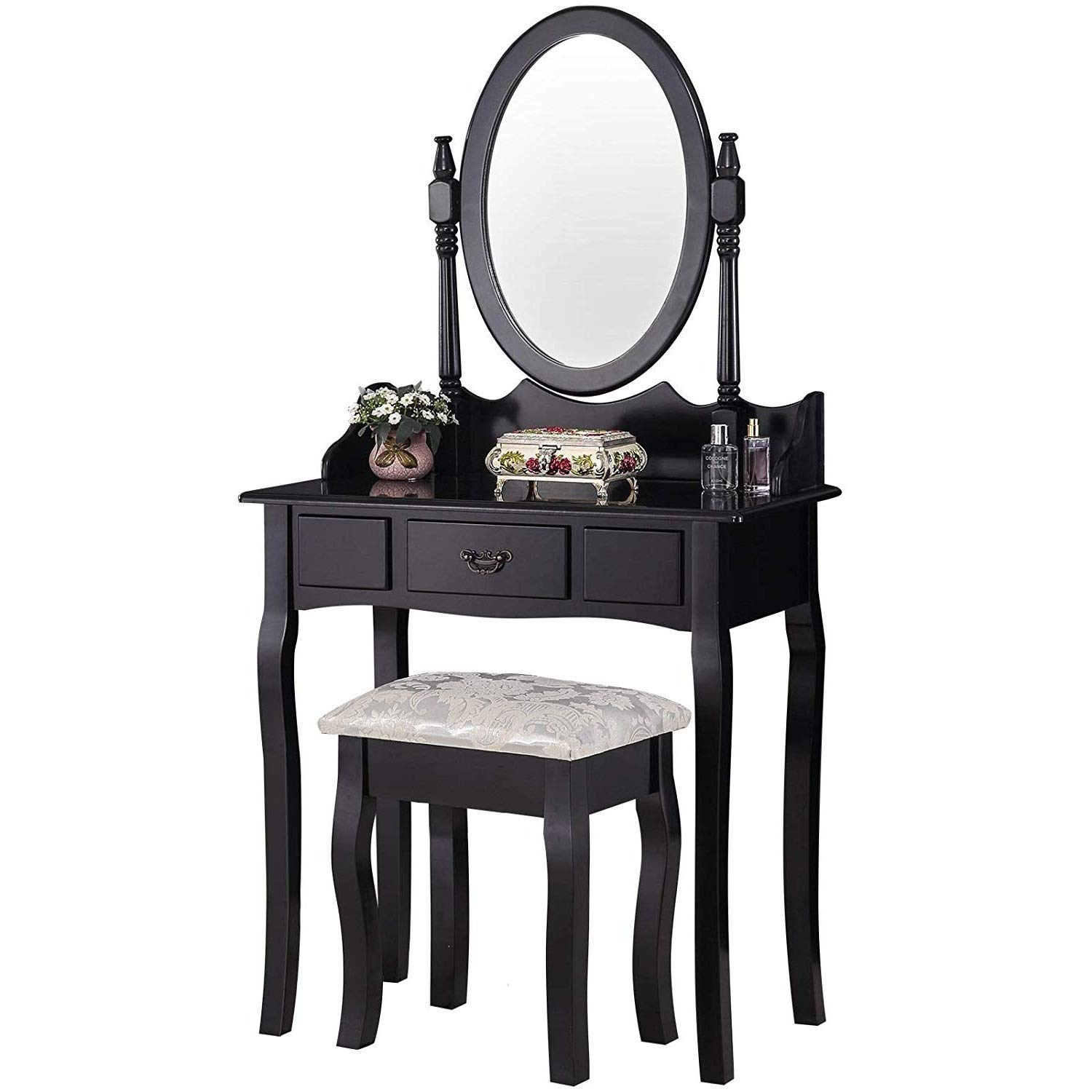 Mecor Vanity Table Set/Oval Mirror,Wood Makeup Table w/Drawer Storage,Bedroom Dressing Table with Cushioned Stool for Kids Girls Women Black