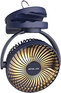OPOLAR 5000mAh Camping Lantern Clip On Fan with Hanging Hook, 4 Speeds Quiet Wind Personal Fan with 35 Hours Work Time for Tent, Hurricane Emergency, Battery Operated Desk Fan for Home & Office