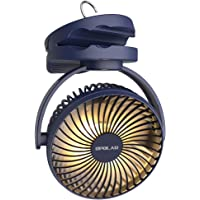 OPOLAR 5000mAh Camping Lantern Clip On Fan with Hanging Hook, 4 Speeds Quiet Airflow Personal Fan with 35 Hours Work…