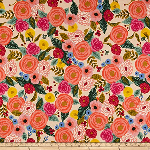 Cotton + Steel Rifle Paper Co. English Garden Juliet Rose Canvas Fabric, Cream, Fabric By The Yard