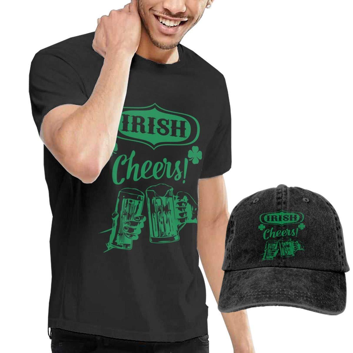Irish Cheers Shamrock Beer Shirt Short Sleeve Denim Hat Men