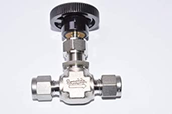Tube : OD Compression 316 SS Bar Handle Regulating Stem Material : 316 Stainless Inlet//Outlet : 1//4 in Maximum Pressure : 5,000 psi Swagelok SS-1RS4-SH Integral Bonnet Needle Valve