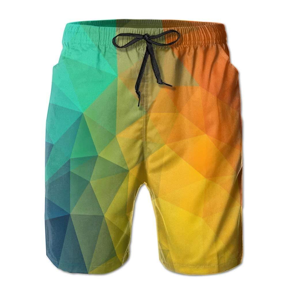 WZnWei Gradient Gradual Athletic Mens Shorts Beach Swim Trunk Summer